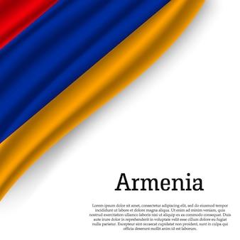 Sventolando la bandiera dell'armenia su bianco