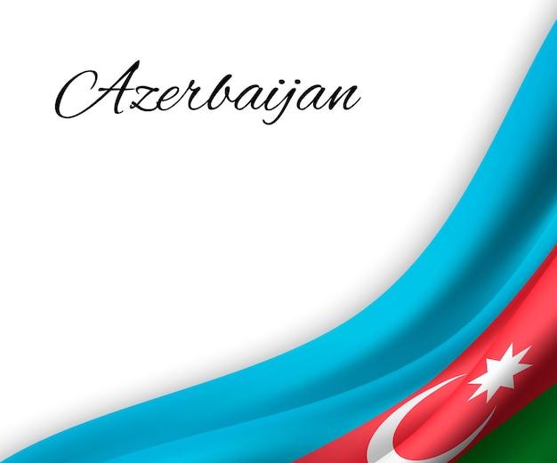 Sventolando la bandiera dell'azerbaigian su priorità bassa bianca.