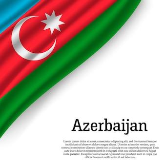 Sventolando la bandiera dell'azerbaigian su bianco