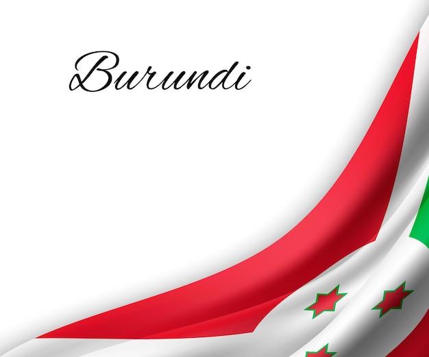 Sventolando la bandiera del burundi su sfondo bianco.