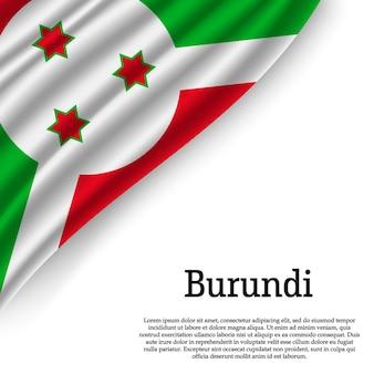 Sventolando la bandiera del burundi su bianco