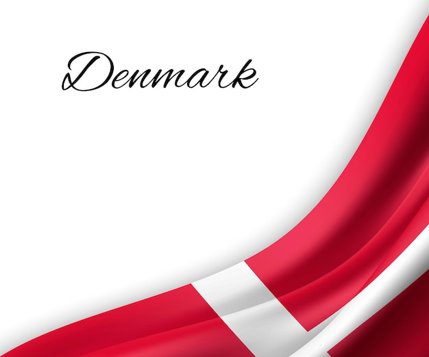 Sventolando la bandiera della danimarca su sfondo bianco.