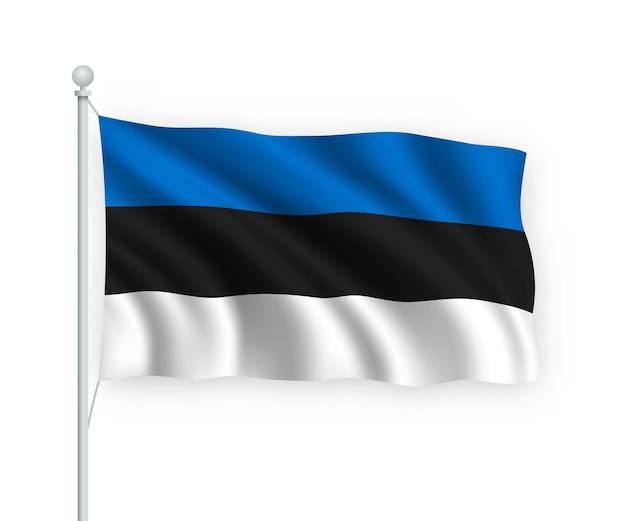 Sventolando bandiera estonia sul pennone isolato su bianco