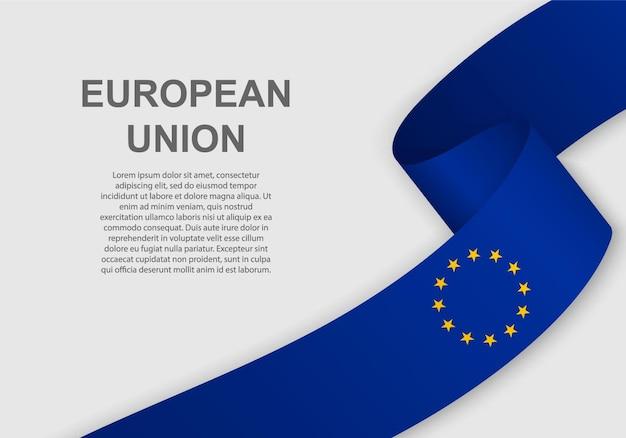 Sventolando la bandiera dell'unione europea.