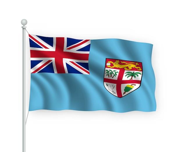 Sventolando bandiera fiji sul pennone isolato su bianco