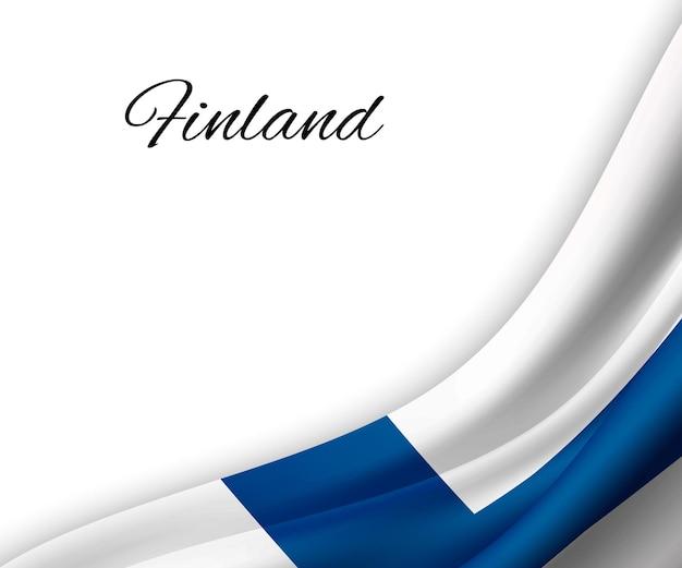 Sventolando la bandiera della finlandia su sfondo bianco.
