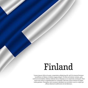 Sventolando la bandiera della finlandia su bianco