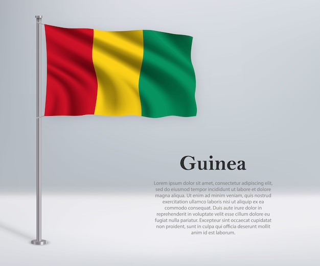 Sventolando la bandiera della guinea sul pennone