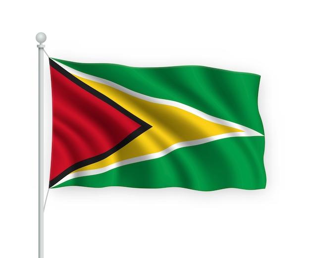 Sventolando bandiera guyana sul pennone isolato su bianco