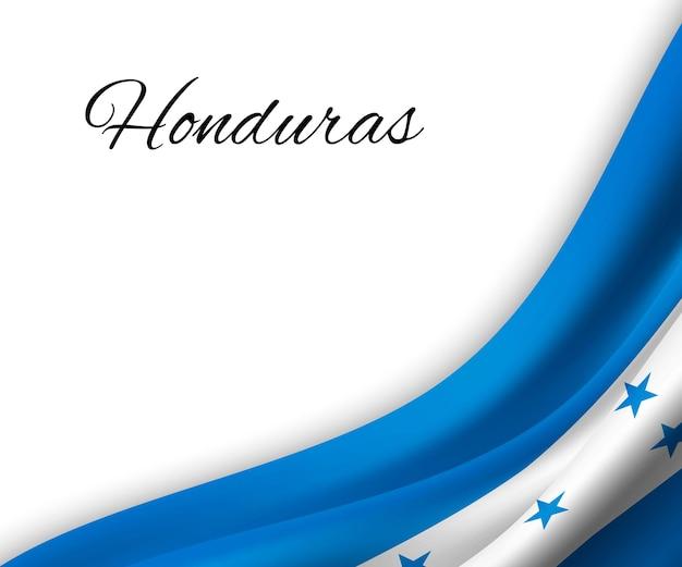 Sventolando la bandiera dell'honduras su sfondo bianco.