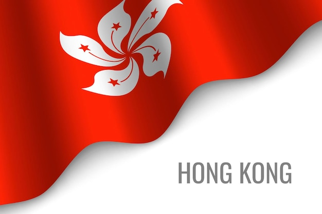 Sventolando la bandiera di hong kong Vettore Premium
