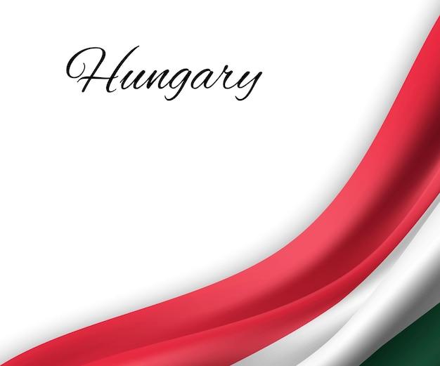 Sventolando la bandiera dell'ungheria su sfondo bianco.