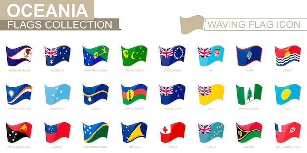 Sventolando l'icona della bandiera, bandiere dei paesi dell'oceania in ordine alfabetico. illustrazione vettoriale.