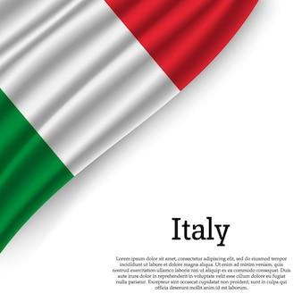 Sventolando la bandiera dell'italia su bianco