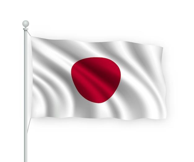 Sventolando bandiera giappone sul pennone isolato su bianco