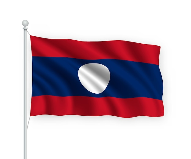 Sventolando la bandiera laos sul pennone isolato su bianco