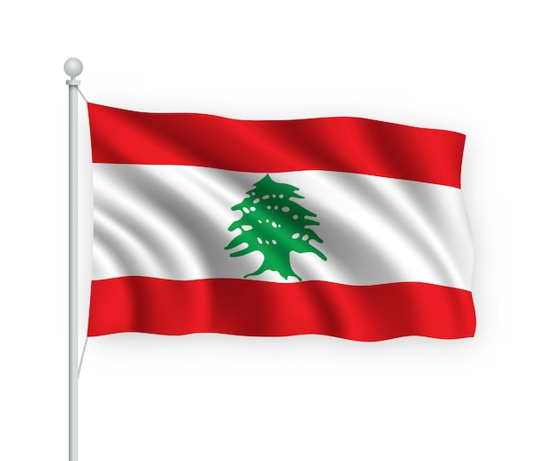 Sventolando la bandiera del libano sul pennone isolato su bianco