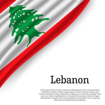Sventolando la bandiera del libano su bianco