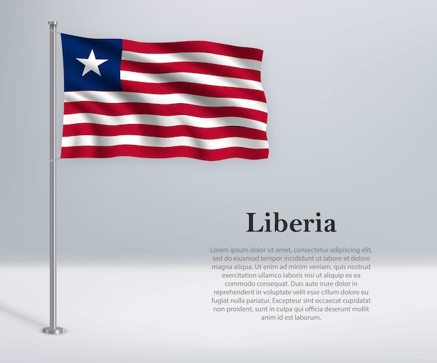 Sventolando la bandiera della liberia sul pennone