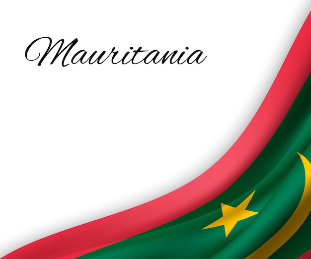 Sventolando la bandiera della mauritania su priorità bassa bianca.