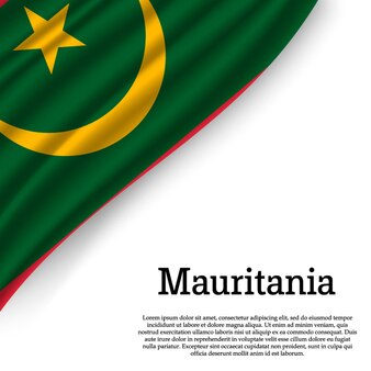 Sventolando la bandiera della mauritania su bianco