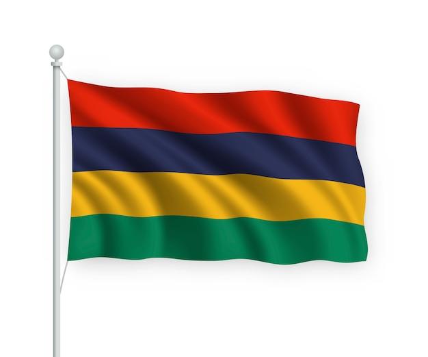 Sventolando bandiera mauritius sul pennone isolato su bianco