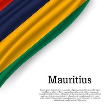 Sventolando la bandiera delle mauritius su bianco