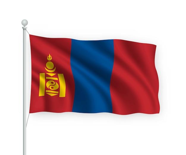 Sventolando bandiera mongolia sul pennone isolato su bianco