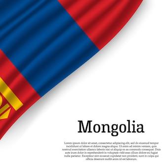 Sventolando la bandiera della mongolia su bianco