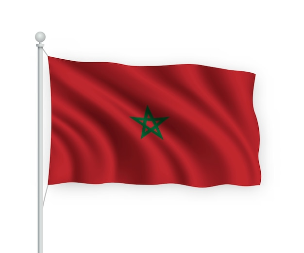 Sventolando la bandiera del marocco sul pennone isolato su bianco
