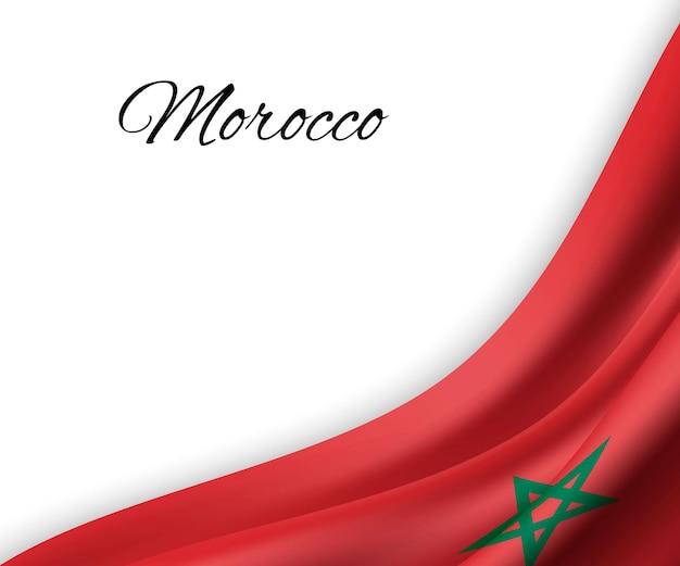 Sventolando la bandiera del marocco su sfondo bianco.