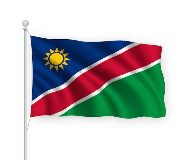 Sventolando la bandiera della namibia sul pennone isolato su bianco