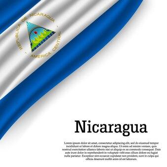Sventolando la bandiera del nicaragua su bianco