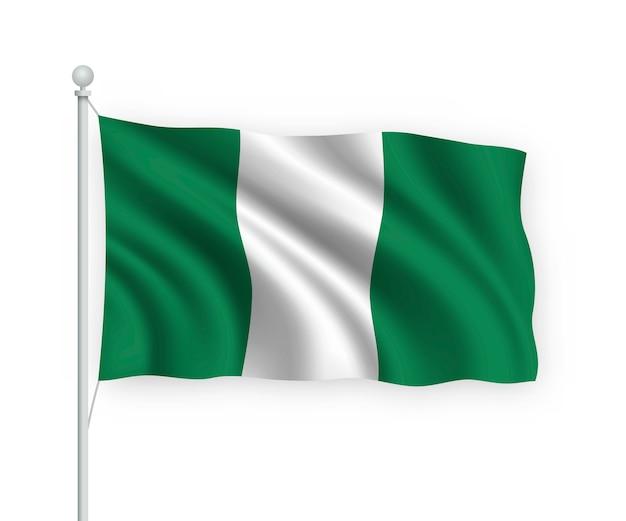 Sventolando bandiera nigeria sul pennone isolato su bianco