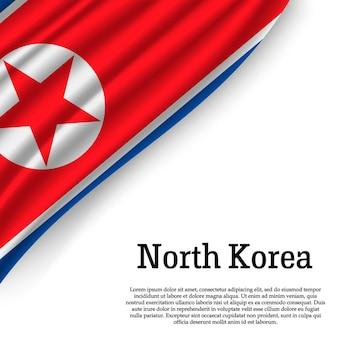 Sventolando la bandiera della corea del nord su bianco