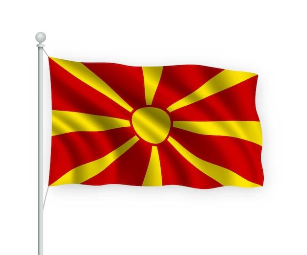 Sventolando la bandiera macedonia del nord sul pennone isolato su bianco