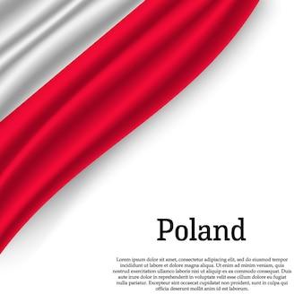 Sventolando la bandiera della polonia su bianco