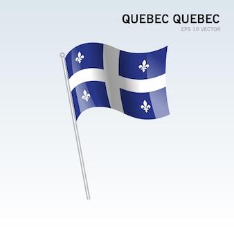 Sventolando la bandiera del quebec, quebec province del canada isolato su sfondo grigio