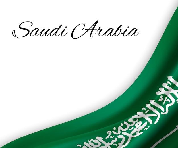 Sventolando la bandiera dell'arabia saudita su priorità bassa bianca.