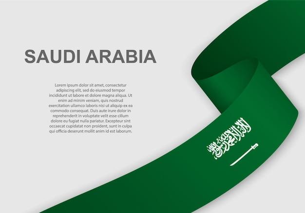 Sventolando la bandiera dell'arabia saudita.