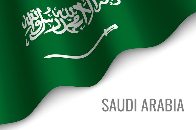 Sventolando la bandiera dell'arabia saudita