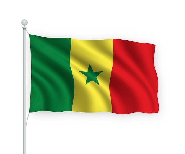 Sventolando bandiera senegal sul pennone isolato su bianco