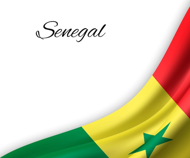Sventolando la bandiera del senegal su priorità bassa bianca.