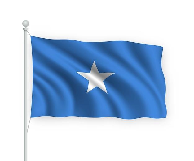 Sventolando bandiera somalia sul pennone isolato su bianco