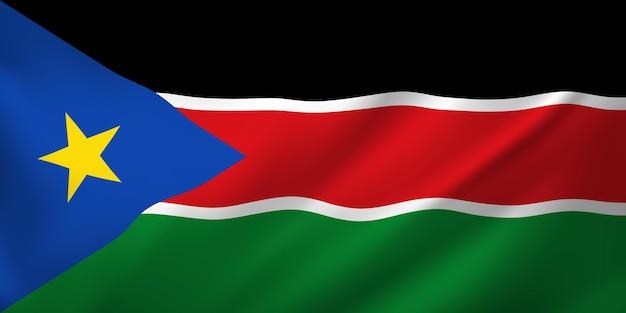 Sventolando la bandiera del sud sudan. sventolando la bandiera del sud sudan astratto