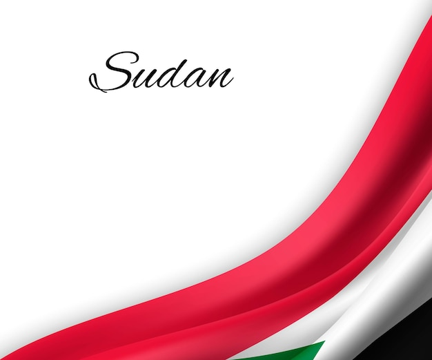 Sventolando la bandiera del sudan su sfondo bianco.