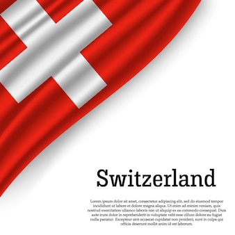 Sventolando la bandiera della svizzera su bianco