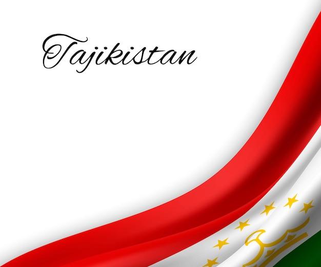 Sventolando la bandiera del tagikistan su sfondo bianco.