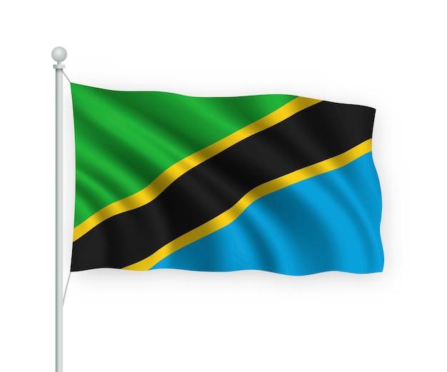 Sventolando la bandiera della tanzania sul pennone isolato su bianco