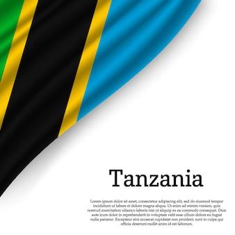 Sventolando la bandiera della tanzania su bianco